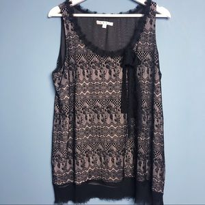 Cabi Lacey Tie Front Blouse. Lined. Size Large